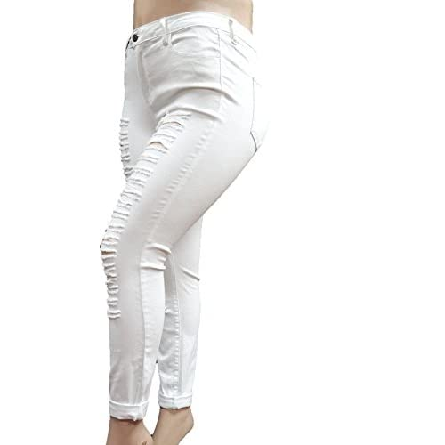 c441b65cb4 Cello Womens Plus Size Ripped Skinny Roll up White Denim Jeans Distressed  Pants 80%OFF