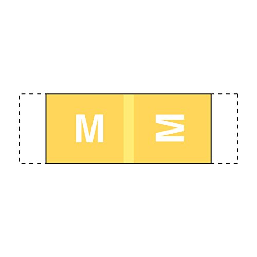 Alphabetic Color Coded Labels- Letter M, Yellow, Col'R'Tab 11950 Compatible (Polylaminated, 500/Roll) Storage Color Code