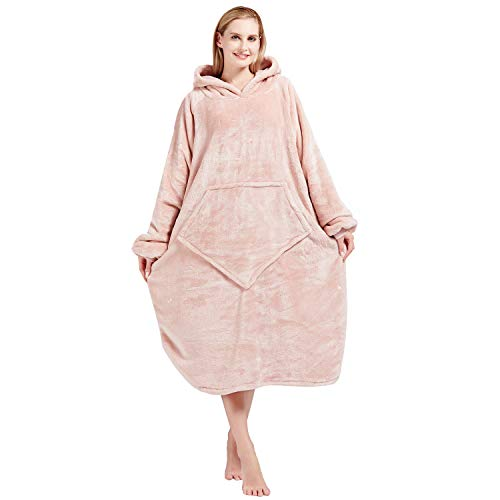 Bobor Blanket Hoodie, Oversized Sweatshirt Wearable Fleece Blanket with Large Front Pocket for Adults, Men, Women, and Kids, Fuzzy, Fluffy, Plush, Soft, Cozy, Warm Flannel Blanket (Light Pink, Adult)