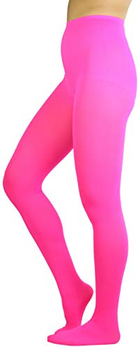 Tights Pink Opaque (ToBeInStyle Women's Sheer Nylon Tights - Neon Pink - One Size)