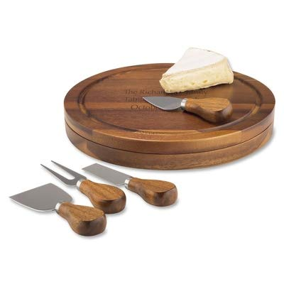 Things Remembered Personalized Acacia Wood Cheese Cutting Board with Knives with Engraving Included