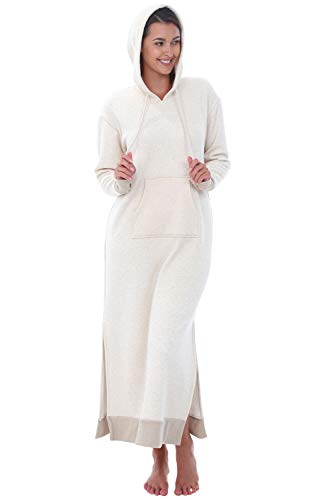 Alexander Del Rossa Womens Full Length Fleece Kaftan, Pullover Nightgown with Pockets, Medium Oatmeal with Hood (A0266OATMD)