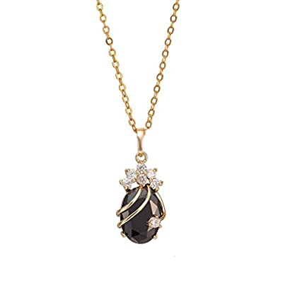 Yazilind Cute 18K Gold Plated Crystal Pendant With Necklace for Women