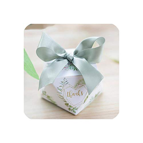 - European Diamond Shape Green Forest Style Candy Boxes Wedding Favors Bomboniere Paper Thanks Gift Box Party Chocolate Box 50Pcs,A,8.5X8.5X6Cm