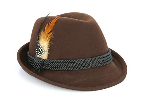 Holiday Oktoberfest Wool Bavarian Alpine Hat - Brown Color - Size Extra Large (XL)