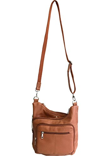 Leather Stylish Locking Ambidextrous Concealed Carry Crossbody Handbag Gun Concealment Brown Light CCW Purse Cadq6