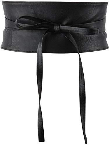 Women Faux Leather Obi Belt, Wide Self Tie Wrap Belt Fashion Waist Belt for Dress Bow Tie Black Belt