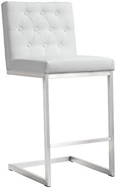 Tov Furniture Helsinki Stainless Steel Counter Stool Set of 2