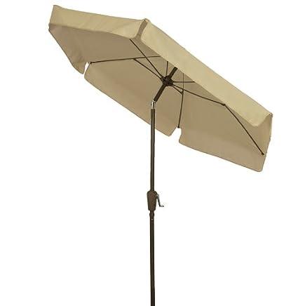 2f6cc8556c21f Amazon.com : FiberBuilt Umbrellas Garden Umbrella with Push-Button Tilt, 7.5  Foot Beige Canopy and Champagne Bronze Pole : Patio Umbrellas : Garden & ...