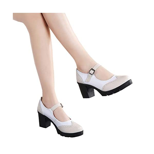 DADAWEN Women's Leather Classic Platform Mid Heel Mary Jane Square Toe Oxfords Dress Shoes