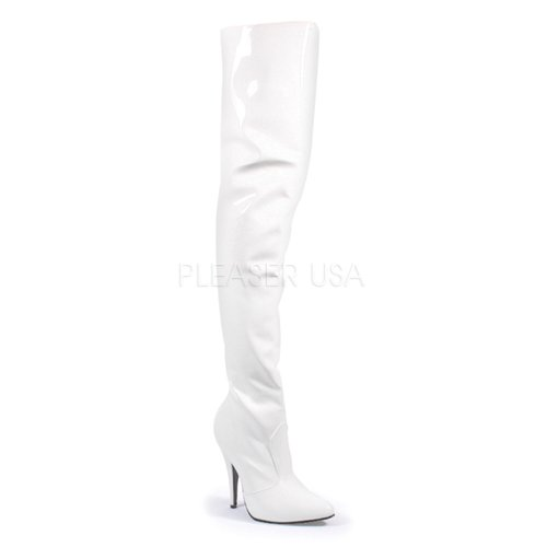 Thigh High Boots Halloween (Pleaser Women's Seduce-3010 Thigh High Boot,White Patent,9 M US)