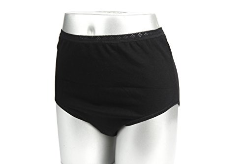 LUXEHOME Women Cotton Brief Panties,3 per Package (XXXL, (Cotton Brief Panties Black)