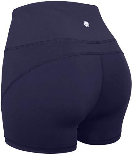 (QUEENIEKE Women 4.5 Inches Inseam Sports Shorts Mid-Waist Tummy Control Yoga Train Running Size XL Color Navy Blue)