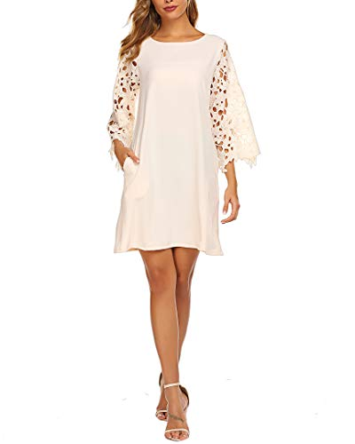 Lace Dress for Women,Floral Sheer Sleeve Casual Loose Pockets Chiffon Shift Dress(L, 05 Apricot) (Chiffon Pocket)
