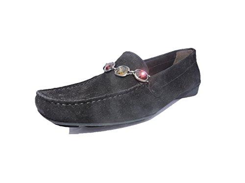 (Stuart Weitzman Womens Rocks Black Suede Jeweled Loafers, Flats Size 5.5 M)