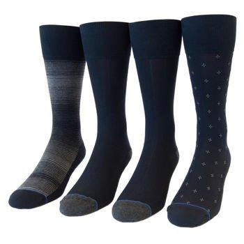 Kirkland Signature Mens Cushion Foot Dress Sock Navy Pack 4 US Size 6.5-12