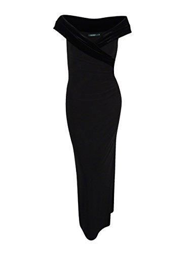 Cheap Lauren by Ralph Lauren Womens Dionna Sleeveless Velvet Trim Formal Dress