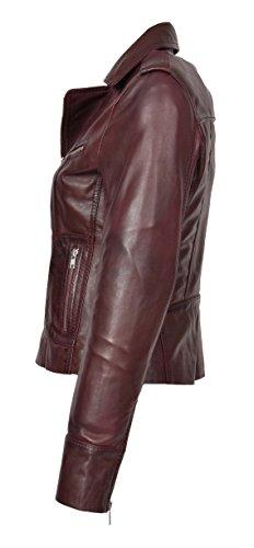Designer Mince Fit Italien Vin Véritable Éclair Veste Fermeture Motard Femmes Cuir Manteau De Rouge Betty Décontracté qHvzxw8