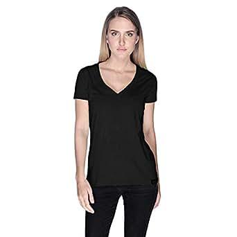 Creo Open Skull Bikers T-Shirt For Women - L, Black