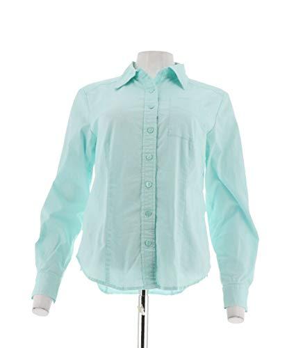 Linea Louis Dell'Olio Button Front Shirt Pocket Pale Aqua M New A214116