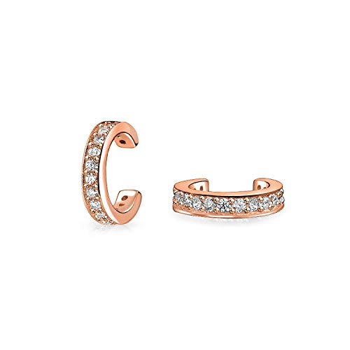 (Minimalist Cubic Zirconia Pave CZ Band Cartilage Ear Cuffs Clip Wrap Helix Earrings Rose Gold Plated Sterling Silver )