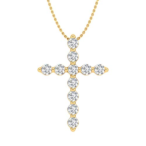 10K Yellow Gold Diamond Cross Pendant Necklace (1/4 Carat) with Silver Chain - IGI Certified ()
