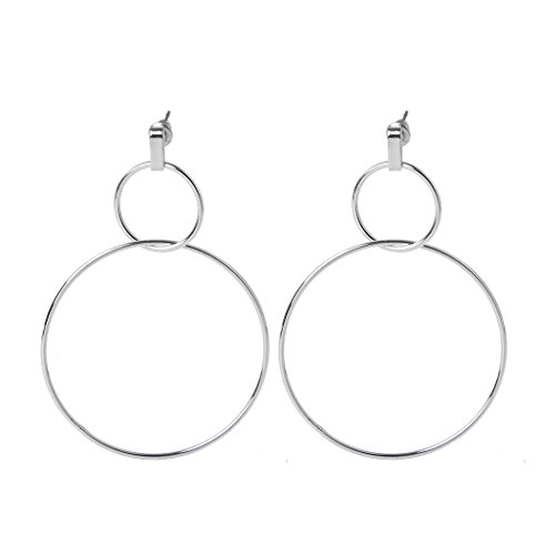 Hibye Minimalist Women Geometric Double Circle Large Earrings Hoops Ear Jewelry Party Jewelry Gifts, Silver