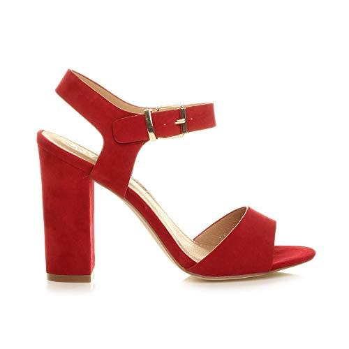 Talon Femmes Élégant Rouge Lanières Fête Chaussures Haute Pointure Daim À Boucle Sandales H5q5g