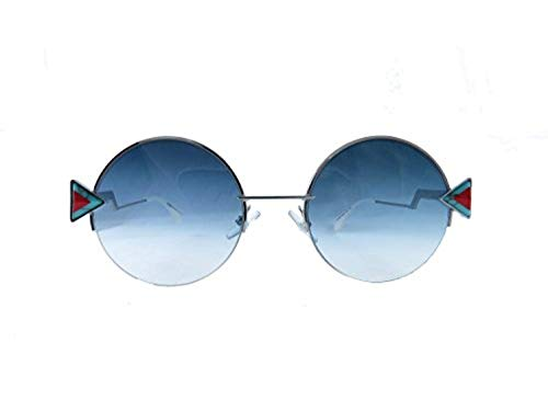 (Fendi round sunglasses 0SCB Silver Blue Frame And khaki Aqua Lens)