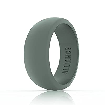 Alliance Silicone Wedding Ring Band for Men ? Durable and Flexible ? Made for Those with an Active Lifestyle ? 8.7 mm Wide (Black, Grey, and Blue)