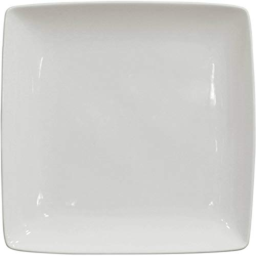 (Better Homes and Gardens Porcelain Coupe Square Dinner Plates, White, Set of 6 )