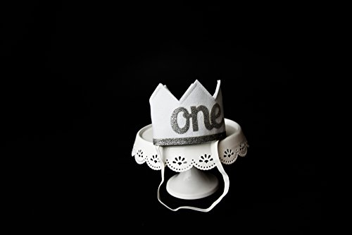 Baby Girl and Boy FIRST BIRTHDAY Sparkly Silver ONE Crown I Am 1 by Birdy Boutique (Image #4)