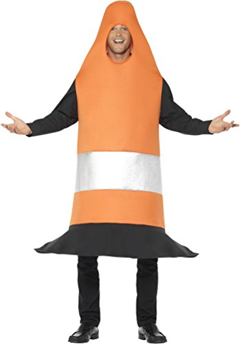 Smiffy's Men's Traffic Cone Costume, Orange, One (Orange Traffic Cone Halloween Costume)