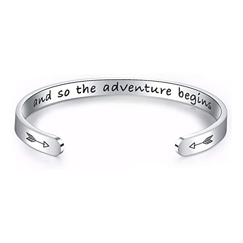 Inspirational Bracelets for Women Girls Birthday Gifts for Her Stainless Steel Engraved Personalized Mantra Bracelets for Women Cuff Bangle Bracelet Come with Gift Box