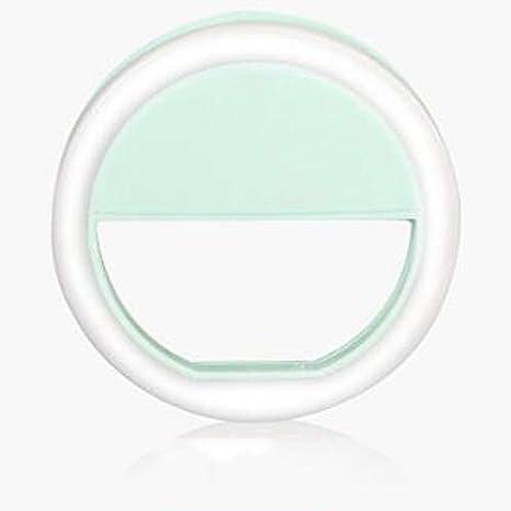 Color : Blue DFYYQ LED Mini Ring Light for Phone USB Powered Round Clip Beauty Light 3 Lights Adjust Selfie Light Flashes