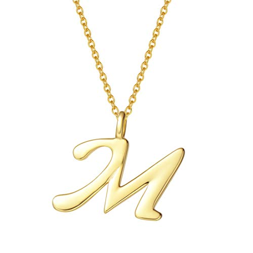 - FANCIME Yellow Gold Plated Initial Necklace High Polish Monogram Letter Initial M Necklace Sterling Silver Fine Jewelry for Women Girls 16