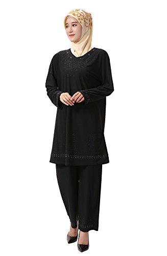 Elegante Perforación Piezas Cuello Vestir Musulmán Mujer Largas Islámico Con Caliente Negro En Mangas V Dos Gladthink xqtwROW