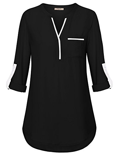 Chiffon Blouses for Women,Timeson Ladies Split V Neck Blouse Shirt 3/4 Cuffed Sleeve Elegant Fit Tunics Shirt Dressy Sheer Tops for Work Black Patch Pocket Shirts for Business Casual Wear Black Medium by Timeson