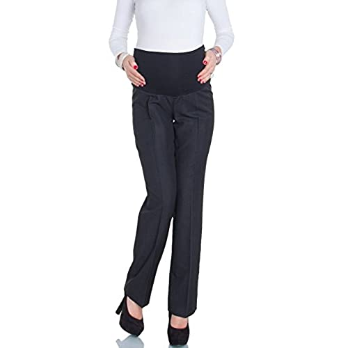 Happy Mama Womens Maternity Smart Tailored Work Office Over-bump Trousers. 246p (Anthracite Black, 18)