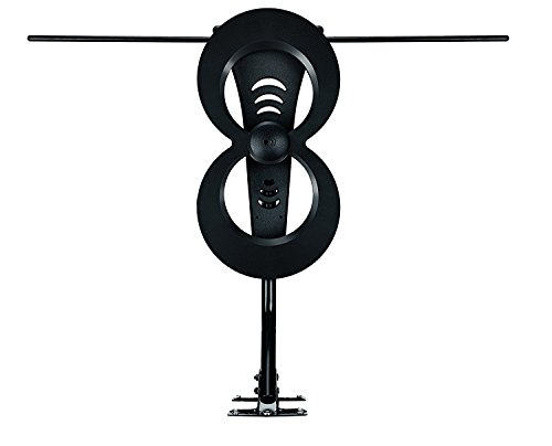ClearStream 2MAX TV Antenna, 60+ Mile Range, Multi-directional, Indoor, Attic, Outdoor, 20-inch Mast with Pivoting Base, All-Weather Mounting Hardware, 4K Ready, Black by Antennas Direct