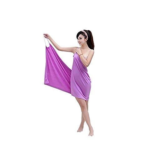 MareLight Elegant Design Sexy Women's Creative Deep V Sling Backless Bath Skirt Swimwear Cover up,Bikini Cover Jacket,5528 Inch-Purple Color-Material Microfibre-BATHROBE AND BATH TOWEL