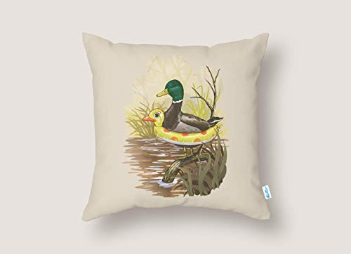 Training Pillow Throw (Duck in Training Pillowcase | Funny Throw Pillow Cover | Home Décor | Farmhouse Décor | Gift for Pet Mom Dad | Animal Lovers Gift | 16x16 Pillow Case)