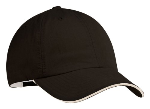 (Port Authority Signature C852 Sandwich Bill Cap - Black/Beige - OSFA)