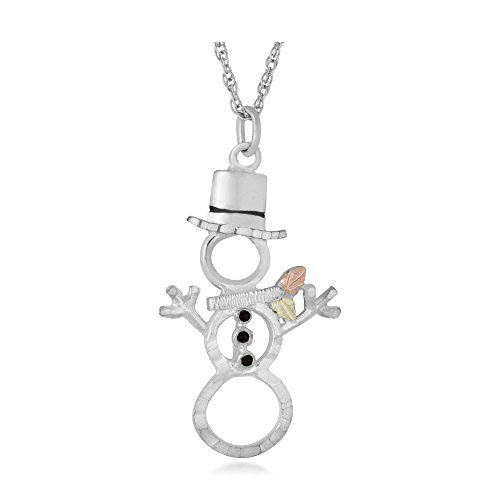 Snowman Pendant Necklace, Sterling Silver, 12k Green and Rose Gold