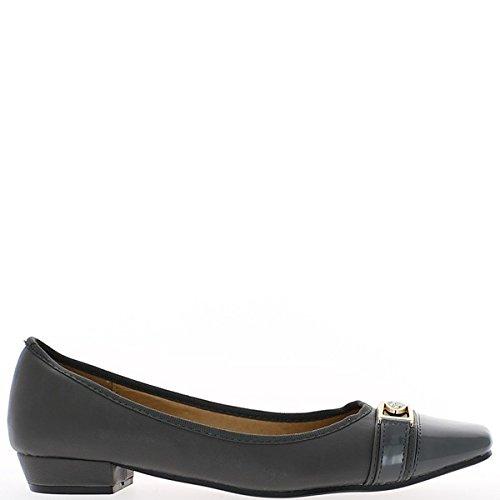 Punte del chiodo scarpe grandi dimensioni grigio tacco 2,5 cm