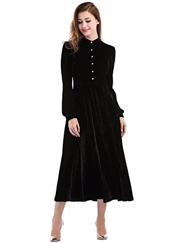 Ayliss Womens Peter Pan Collar Long Sleeve Ribbed Velvet Dress Loose Black (Black Velvet Long Dress)