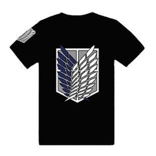 視線独占! 進撃の巨人! Tシャツ 重ね翼の紋章 サイズL 黒(ブラック)エレン・ミカサ 調査兵団 コスプレ衣装 【空縁隊】