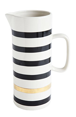 Bloomingville Black and White Striped Stoneware Pitcher, 9.75'' by Bloomingville