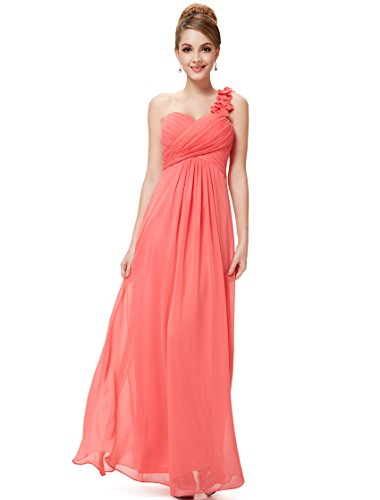 Ever-Pretty Womens Elegant One Shoulder Sweetheart Wedding Guest Dress 14 US Coral