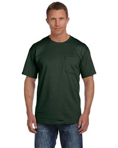 Heavy Cotton Pocket - Fruit of the Loom 5.6 oz. Heavy Cotton Pocket T-Shirt>2XL FOREST GREEN 3931P
